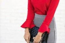 08 a red top with bell sleeves, a blakc and white gingham pencil skirt and a black bag