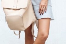 08 a white twist top, a grey skirt from H&M, nude boots  and a large creamy backpack