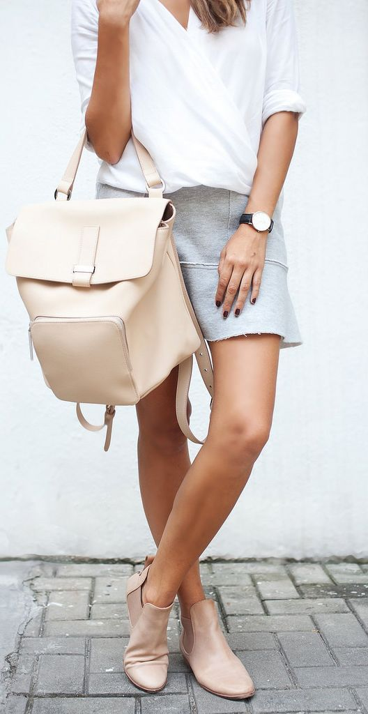 Picture Of A White Twist Top A Grey Skirt From H Amp M Nude