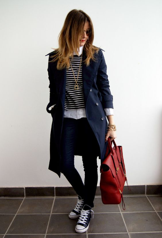 black Converse, navy jeans, a striped top, a white shirt and a navy trench coat
