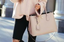 08 black ripped skinnies, a blush off the shoulder baggy sweater, a blush bag and spiked flats