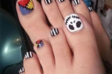 08 bold Frankenstein-inspired nails with striped black and white ones,a  ghost face