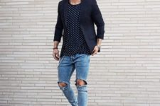 08 ripped jeans, a navy polka dot tee, a black blazer and white sneakers