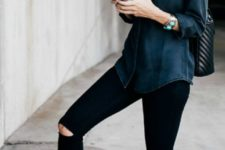 09 a black chambray shirt, black ripped jeans, nude lace up flats and a black backpack