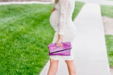 09 a white lace knee dress with long sleeves, nude heels, a hot pink clutch
