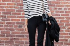 09 black cropped pants, a black and white striped top, black bow heels for a casual business look