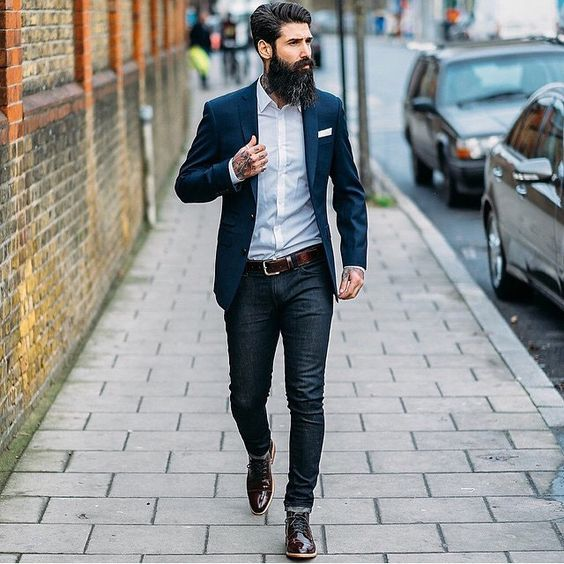 black jeans, a crispy white shirt, a navy blazer, dark brown lacquered shoes for special occasions