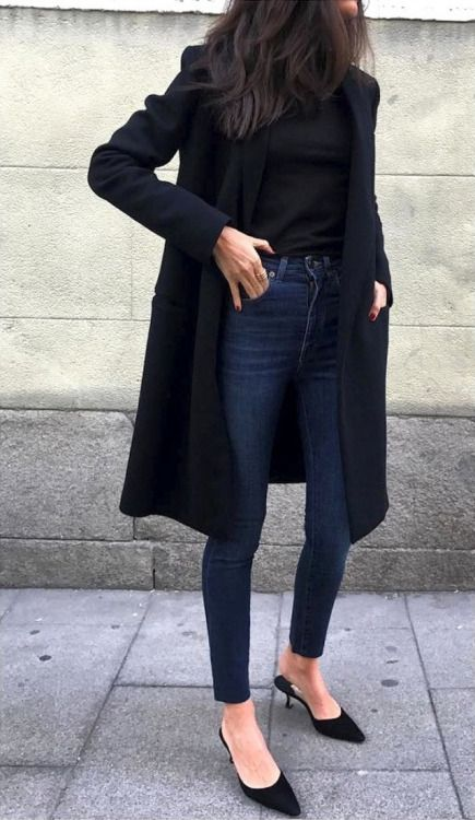navy skinnies, a black top, a black coat and heels for a casual Friday look