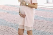 10 a blush knee dress, nude heels and layered necklaces