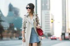 10 a grey flare skirt, a white top, nude hels and a beige trench coat to wear to work
