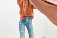 10 an orange chunky knit sweater, ripped jeans and pastel velvet flats