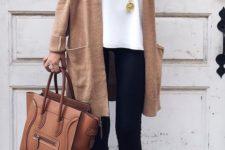 10 black leggings, a white top, a camel long cardigan, leopard print shoes and a camel bag