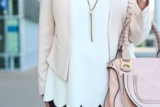 10 navy jeans, a white scallop edge top, a blush blazer and a pink bag for a girlish feel