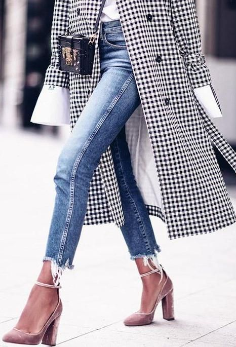 a black and white gingham coat, blue jeans and blush velvet heels for a girlish fall look