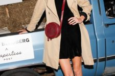 11 a black velvet dress, printed shoes and a neutral trench coat and a red crossbody
