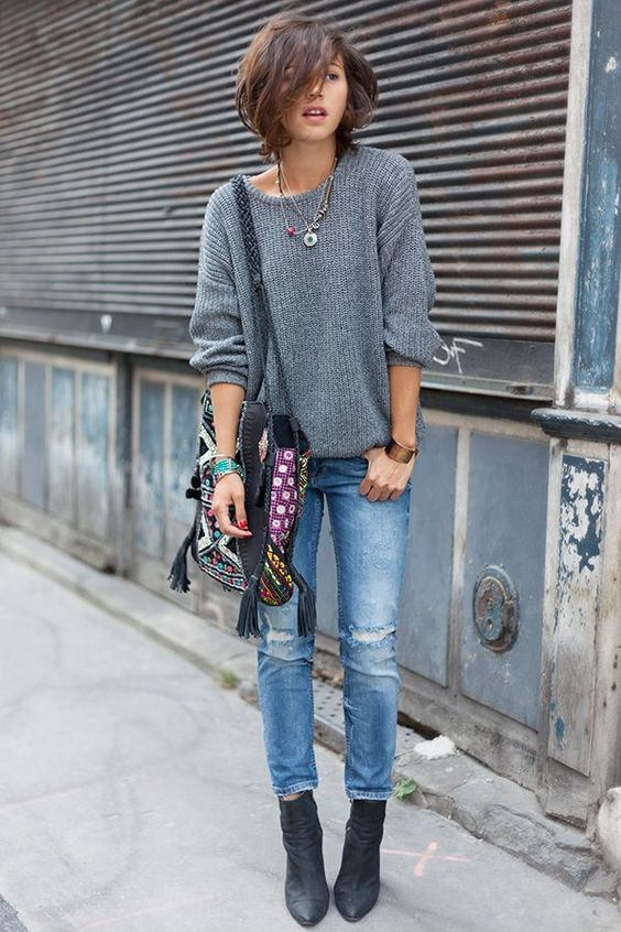 black suede booties, blue distressed jeans, a comfy grey sweater and a bold bag