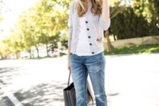 11 nude heels, distressed boyfriend jeans, a white top and a grey cardigan