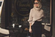 12 a black pencil skirt, an oversized camel sweater, white heels and a black bag