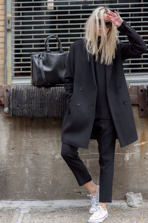 a casual look with black cropped pants, a black sweater, a black coat and bag and white sneakers