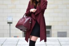 12 a little black dress, black suede high boots, a burgundy coat and a matching bag