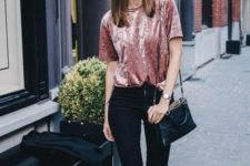12 a pink velvet tee and black jeans for a comfy and trendy fall look