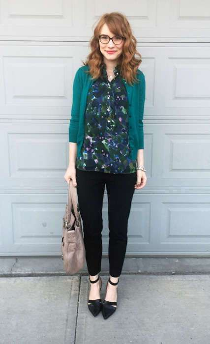 black cropped jeans, black ankle strap flats, a printed shirt and an emerald cardigan