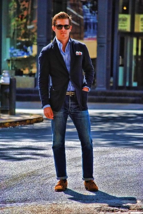 bleached denim, a blue shirt, a navy blazer and amber moccasins