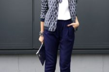 12 navy cropped pants, a white top, a printed blue blazer and printed heels for a bold work outfit