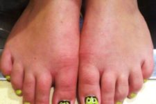 12 neon green toe nails with Fankenstein accent nails