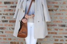 12 white skinnies, a neutral sweater, a neutral coat and coral flats