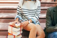 13 a chambray shirt, a striped sweater, orange velvet pants and flats
