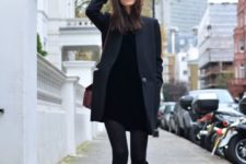13 a mini black dress, a graphite grey coat, tall boots and black tights