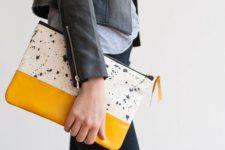 13 a modern clutch, half yellow, half speckled to make a statement