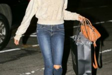 13 a neutral sweater, navy ripped denim and burnt orange velvet booties