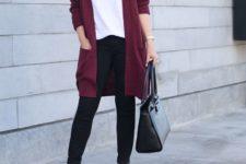 13 black jeans, a white top, a plum cardigan, leopard print shoes and a black bag