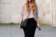 13 black midi pencil skirt, a muted pink sweater, white chucks and a crossbody