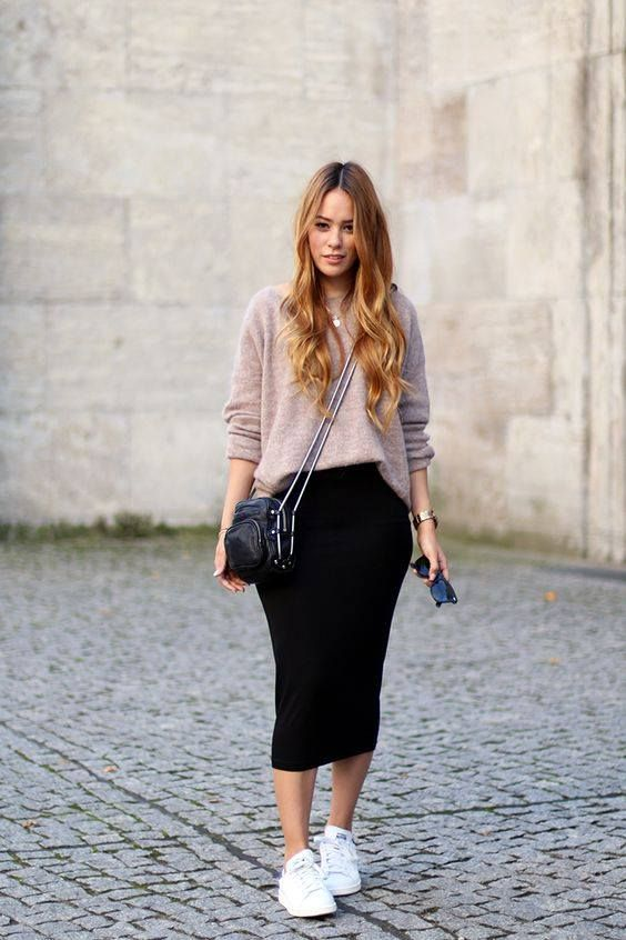 black midi pencil skirt, a muted pink sweater, white chucks and a crossbody
