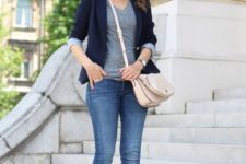 13 blue jeans, a grey tee, a navy blazer and nude spiked flats