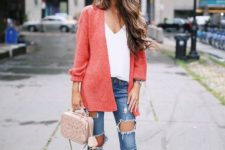 13 nude lace up heels, ripped jeans, a white top, a coral cardigan and a blush bag