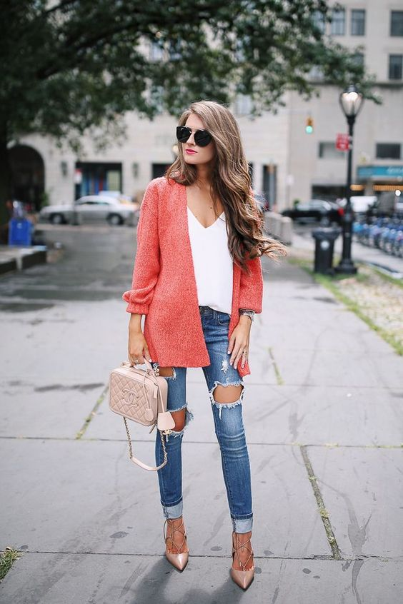 nude lace up heels, ripped jeans, a white top, a coral cardigan and a blush bag