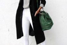 13 white cropped jeans, white chucks, a silver grey sweater, a black midi coat and a green bag