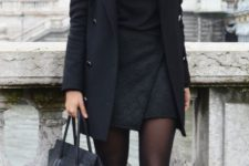 14 a black dress, a black coat, black suede booties and a bag