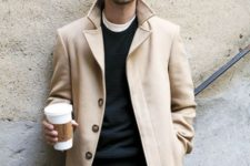 14 a neutral coat, olive green pants, a black sweater for a stylish layered look