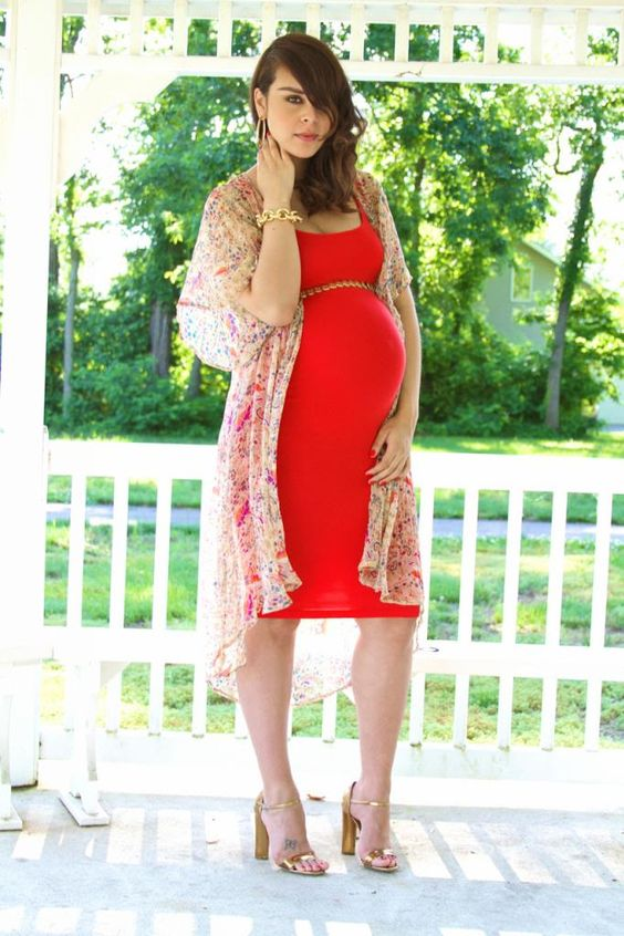 a red dress with a chain belt, a floral kimono and metallic heels for a gorgeous look