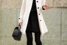15 a black dress, a belt, a white coat with black buttons, black lacquered heels, black tights and a bag