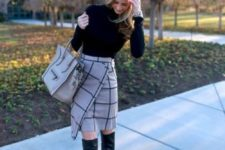 15 a black sweater, a windowpane print grey skirt and black tall boots for a girlish look