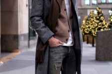 15 a cool look with ripped jeans, a brown cardigan, a scarf, a grey coat and cool brown boots