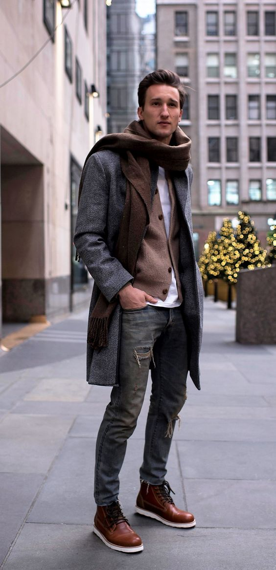 a cool look with ripped jeans, a brown cardigan, a scarf, a grey coat and cool brown boots