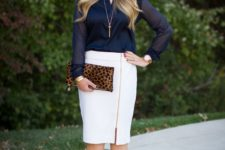 15 a white zip pencil skirt, a navy shirt, hot pink shoes and a leopard clutch