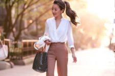 15 dusty pink flare trousers, a flowy white blouse and nude heels